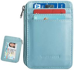 Slim Wallet for Men Protectif Mini Card Holder with Zipper a